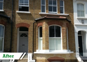Paint removal from brick wall completed by UK Performance Restoration, London UK.