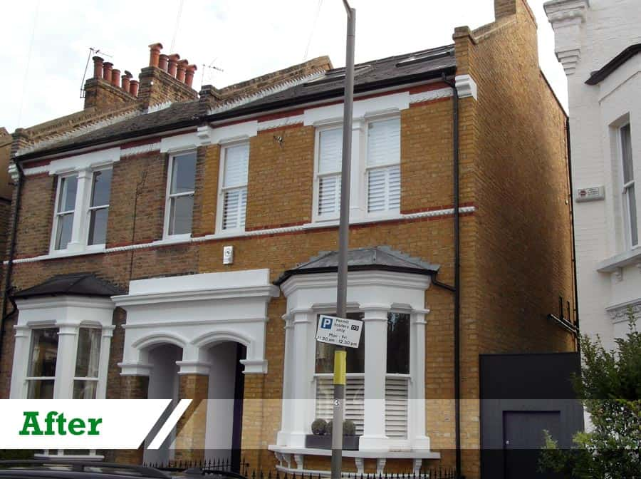 Paint removal and brick repointing for residential client completed by UK Performance Restoration, London UK.