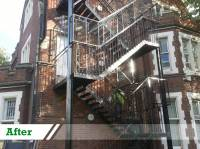 Sandblasting of cast iron stairs completed by UK Performance Restoration, London UK.