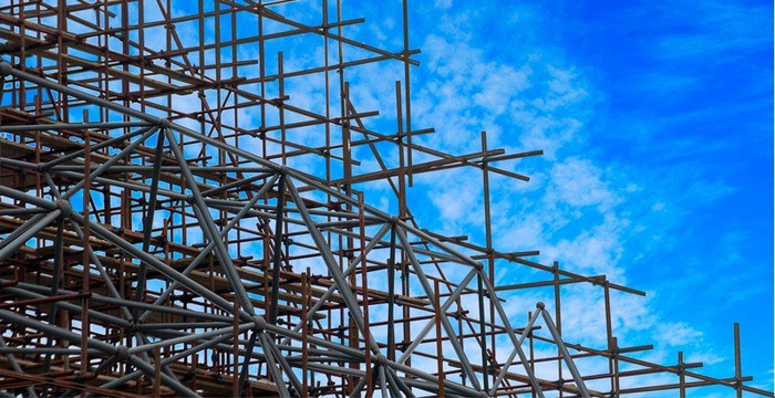 Scaffolding on Blue Sky background