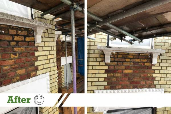 Brick elevation after being cleaned by UK Performance Restoration UK