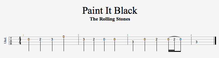 Rolling Stones Paint It Black Ukulele Tabs