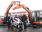 Fresh from his successful TT campaign, Ian Hutchinson helps launch a new co-sponor of the MCE Insurance Ulster Grand Prix, TBF Thompson & Hitachi Construction Machinery.  L-R: Seamus Doherty, Director at TBF Thompson, Ian Hutchinson, Alan Espie, Director at TBF Thompson and Noel Johnston, Clerk of the Course at the MCE Ulster Grand Prix.