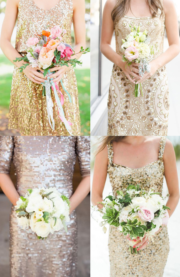 What flowers should you pair with a gold bridesmaid dress? Frock + Flowers // Gold dresses with white flowers with pops of pale pink and orange