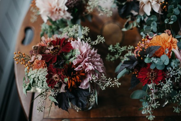 Fall bridesmaid bouquets with dahlias and eucalyptus by Broadturn Farm | Our Northeast Charm Wedding in Maine | Ultimate Bridesmaid | Brett & Jessica Photography