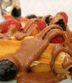 So yum #foodlove #desserts #waffles #chocolate #strawberry #berries #foodie #delicious