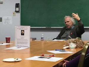 """Andrei S. Markovits talks about his book, """"Hillel at Michigan 1926/7-1945: Struggles of Jewish Identity in a Pivotal Era,"""" to a group of UMD faculty Wednesday. Nicole Reisinger/Mitzpeh."""