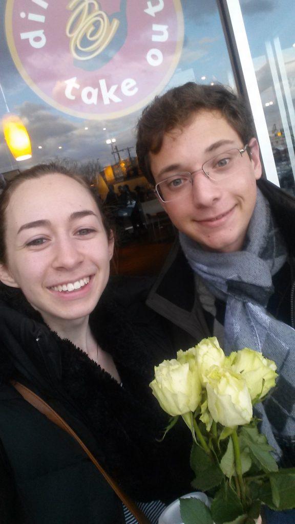 Kayla Kaplan and Benjamin Douek on their Mitzpeh Matchmaker date at Starbucks. Photo courtesy of Kayla Kaplan.