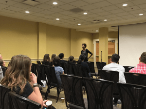 """Chloe Valdary, director of partnerships and outreach in Jeursalem U, speaks about fighting BDS on college campuses during a film screening of """"Mekonen: The Journey of an African Jew."""" Rachel Kalusin/Mitzpeh."""
