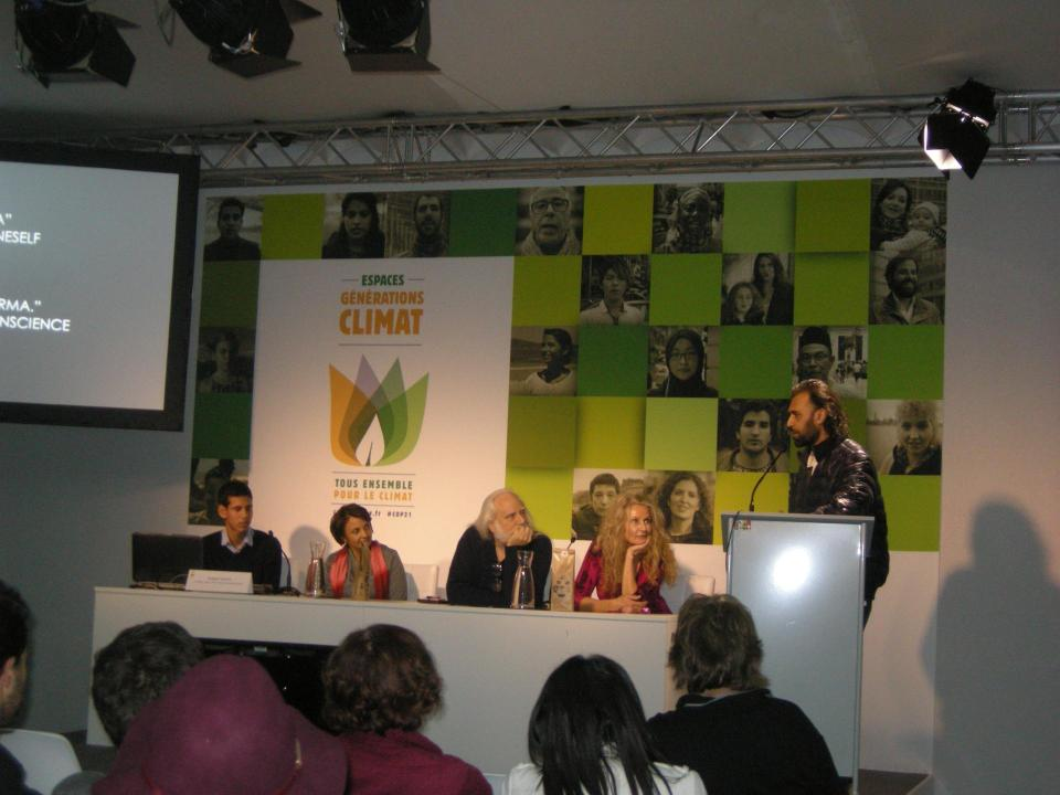 IARC Centre for United Nations head Pushkar Ganesh Vaidya speaking on Climate Change at COP21 Paris