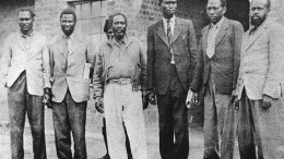 The Kapenguria Six from left: Paul Ngei, Fred Kubai, Jomo Kenyatta, Achieng Oneko, Kungu Karumba and Bildad Kagia. PHOTO FILE | NATION