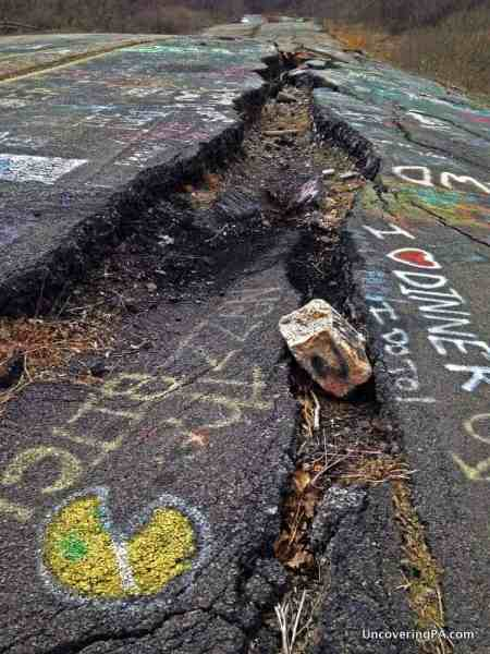 A large crack in the road along the Graffiti Highway in Centralia, Pennsylvania.