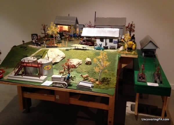 A working model of an oil field in the late 19th-century in McKean County, Pennsylvania.