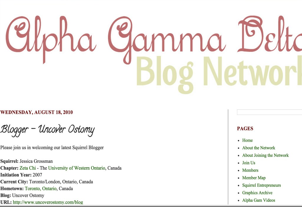 Uncover Ostomy Alpha Gamma Delta Blog Network 08-18-2010