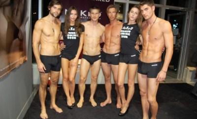Naked underwear models.