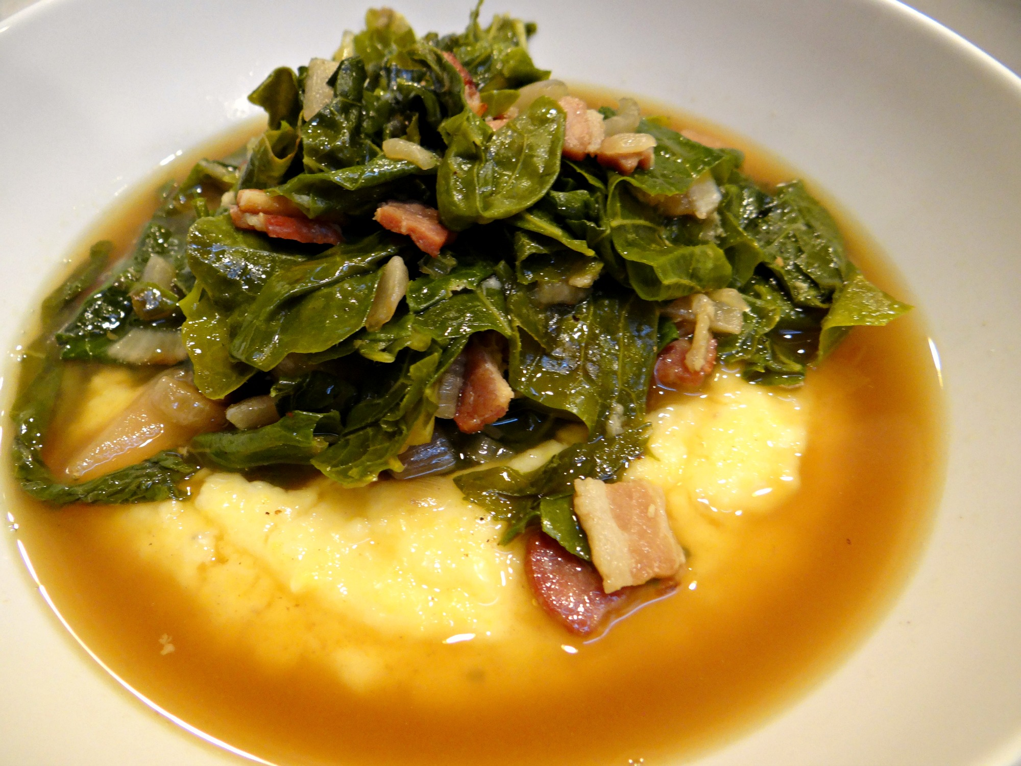 Easy braised greens with creamy polenta for Creamy polenta with mushrooms and collards