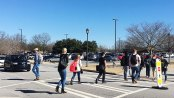 Students impede the flow of traffic. (Photo by Tucker Fields)