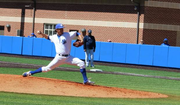 Pitcher Dylan Peppers delivers a pitch during Sunday's game against Augusta University. Peppers had eight strikeouts over eight innings in the Nighthawks' 7-0 victory.
