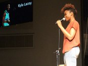 Spoken word artist Kyla Lacey presenting her poetry. (photo by Katiee McKinstry)