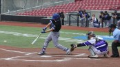 Connor Hoover hits a single in the first inning. (Photo courtesy of the NCAA Division II twitter account, @NCAADII.)