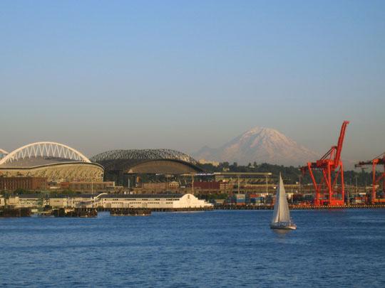 Seattle stadiums and Mount Ranier