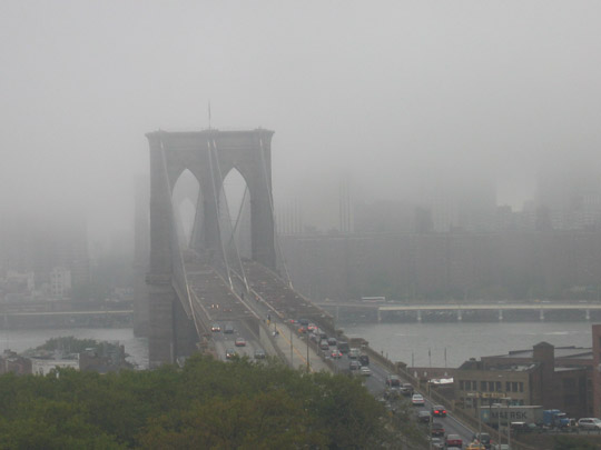 Rain over the Brooklyn Bridge