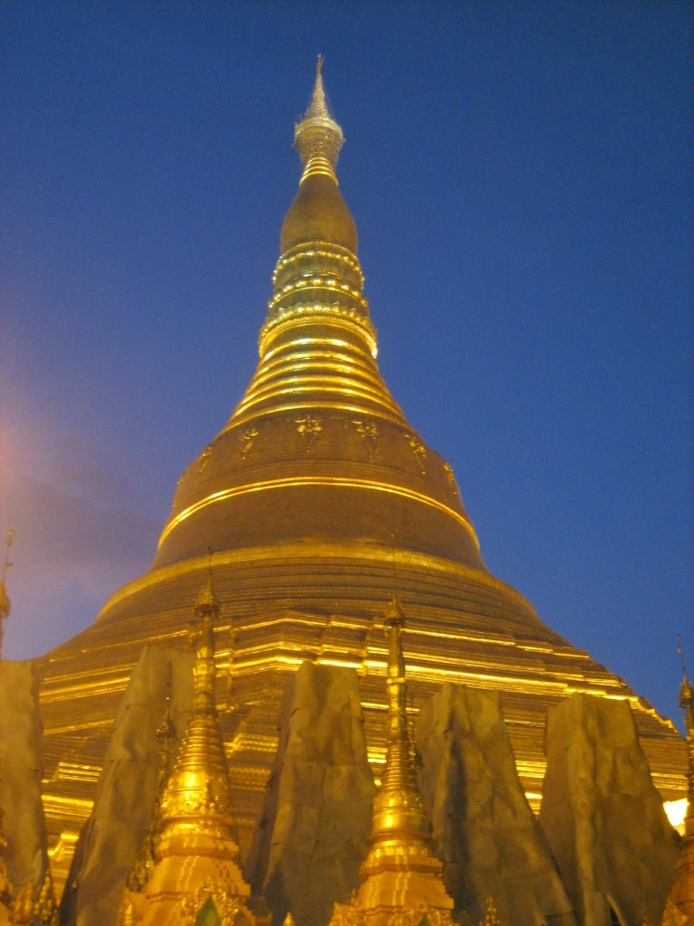 The ancient Shwedagon Pagoda in Yangon, a popular tourist site