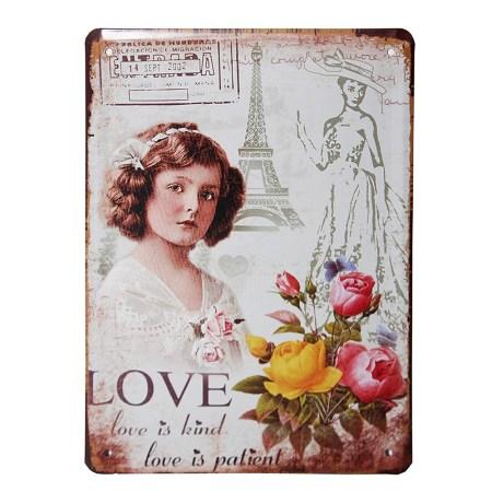 vintage metal plaque love is kind