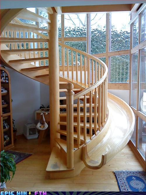 遊び心いっぱいの楽しい階段滑り台