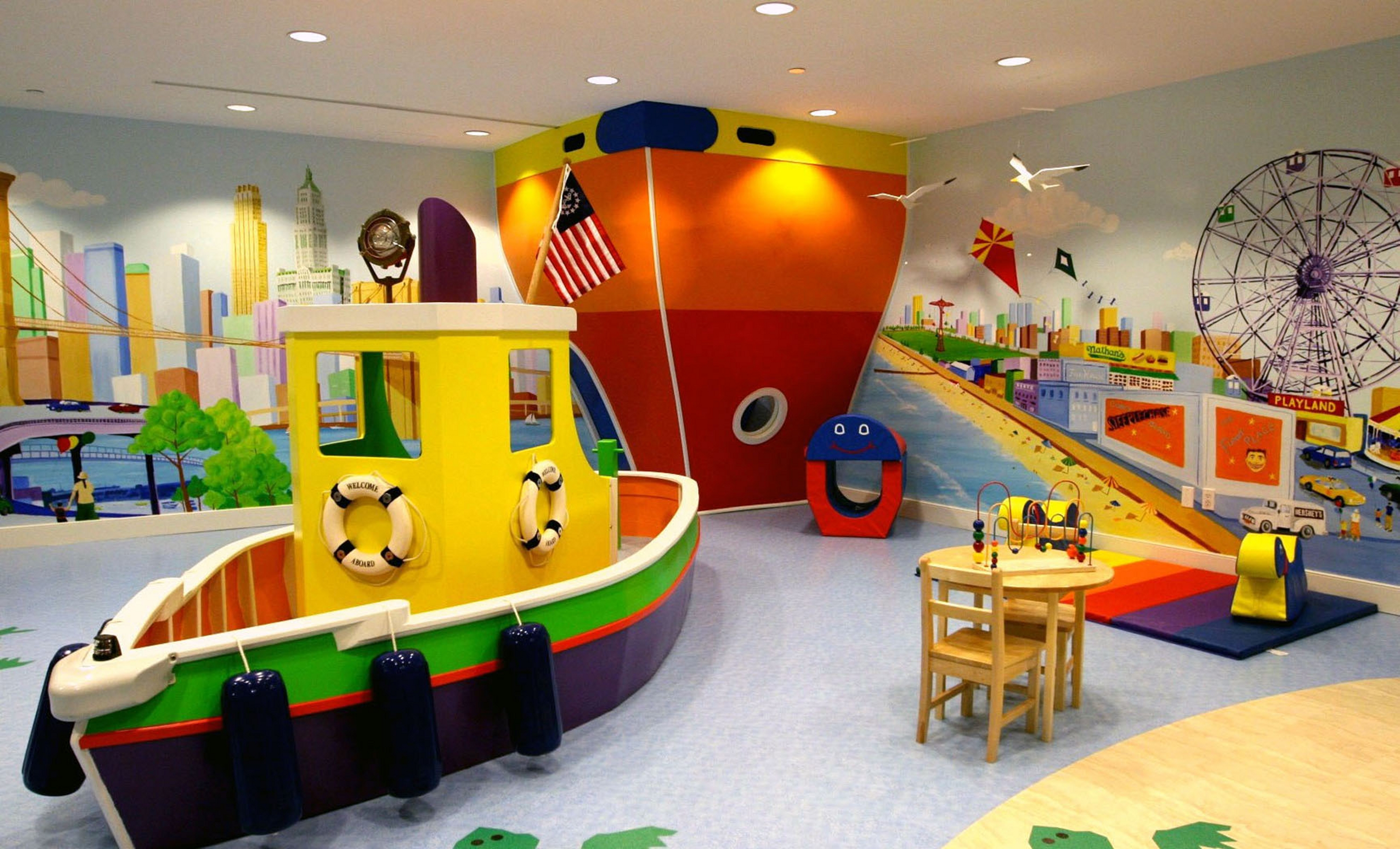 Baby nursery with funny wall mural design ideas funny baby playroom themes interior design wheels spacious space