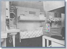 Tourist class stateroom: Aside from the porthole, this room had 4 berths, and two of everything. Two wardrobes, two dressers, two wash basins with hot and cold water. Bath and toilet facilities were down the corridor.
