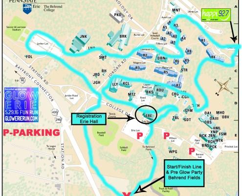 2016 Glow Erie Run Course Map