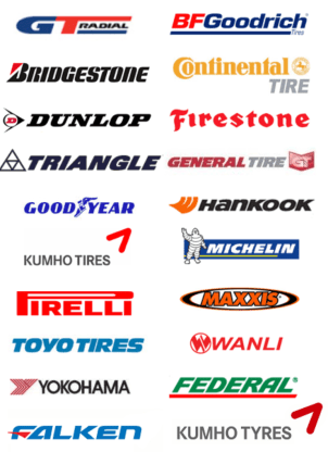 Just some of our tyre brands we use
