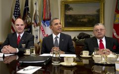 President Barack Obama meets with representatives from Major Cities Chiefs Association and Major County Sheriffs Association. (AP Photo)