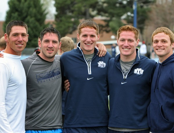 From right to left Josh, Victor, Brian, Matt and Chris Weirich during the Clarence F. Robison Invitational track meet in April 2011 in Provo, Utah. (Photo courtesy Tom Smart, Deseret News)