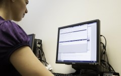 Student Asia Smith looks online for new classes to take for 2013-14 school year (Photo by Elliott Miller)