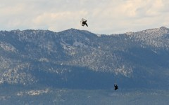 Stuntmen drop down onto Brigham Dallas's water blob in an attempt to set a new world record. Photo courtesy Brigham Dallas