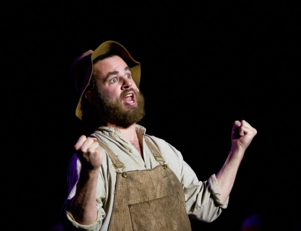 BYU student Peter Layland as the comic relief Niner in Deseret. Photo by Sarah Hill.