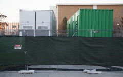 This semester's campus construction will include a few more weeks with these two generators, whose purpose is unknown, beside the HBLL. Photo by Elliott Miller.