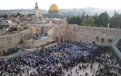 Overview of the Western Wall, which is the Jewish pride and joy with the Dome of the Rock in the back ground, which is the Muslim major religious site. Photo by Amy Filmore.