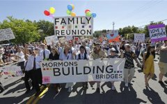 Members of the Mormons Building Bridges march during the Utah Gay Pride Parade in Salt Lake City. (AP Photo)