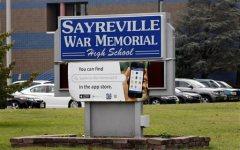 The entrance to Sayreville War Memorial High School. (AP Photo/Mel Evans)