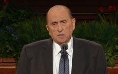 President Thomas S. Monson speaks about priesthood responsibilities at the 185th semiannual General Conference priesthood session. (Screenshot)
