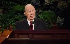 Elder Richard G. Scott speaks at a General Conference
