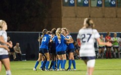 The soccer team celebrates after a goal scored against the University of Utah. BYU looks forward to starting season play and bringing home another season title. (Ari Davis)
