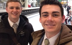 This undated photo provided by Chad Wells shows Mormon missionaries Mason Wells, 19, of Sandy, Utah, left, and Joseph Empey, 20, of Santa Clara, Utah. They both were injured in Tuesday's explosion at the Brussels airport. Mormon church officials say missionaries from Utah were seriously injured in the Brussels airport attack. (Joseph Empey/Chad Wells via AP)