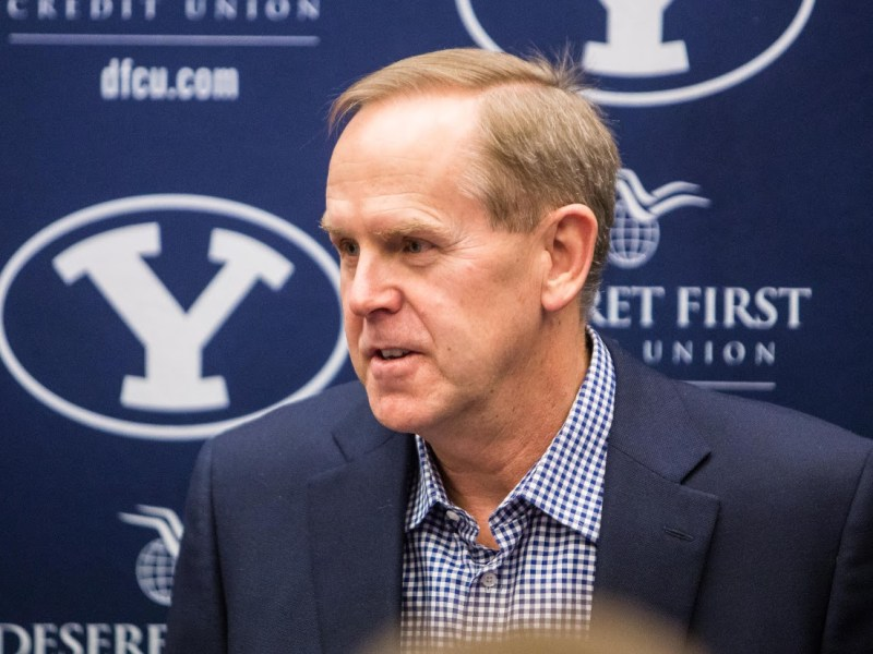 BYU Athletic Director Tom Holmoe speaks to the media during his semi-annual press conference. The Utes and Cougars will resume their rivalry in 2017-18. (Maddi Driggs)