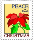 Peace on Earth - postage stamp graphic with poinsettia flower