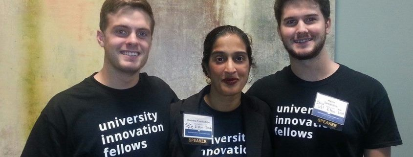 Mass Stem Summit. Pictured from left: Ellery Addington-White (Beloit College), Humera Fasihuddin (Fellows Senior Program Officer) and Kevin Desjardins (UMass Lowell).