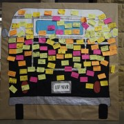 Fellows Bus after creating bumper stickers.